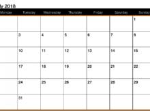 July 2018 Calendar Word Template
