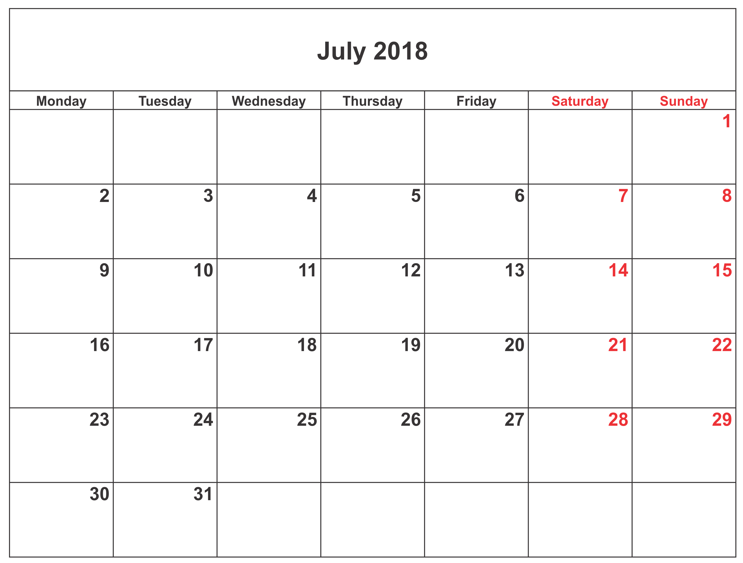 July 2018 Calendar in Excel