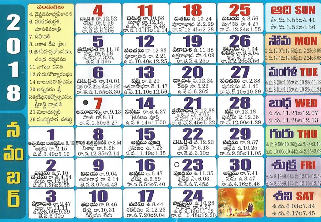 July 2018 Calendar in Telugu