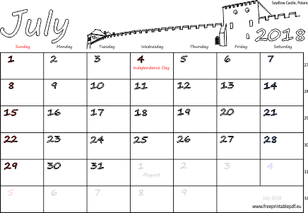 July 2018 Calendar with Holidays France