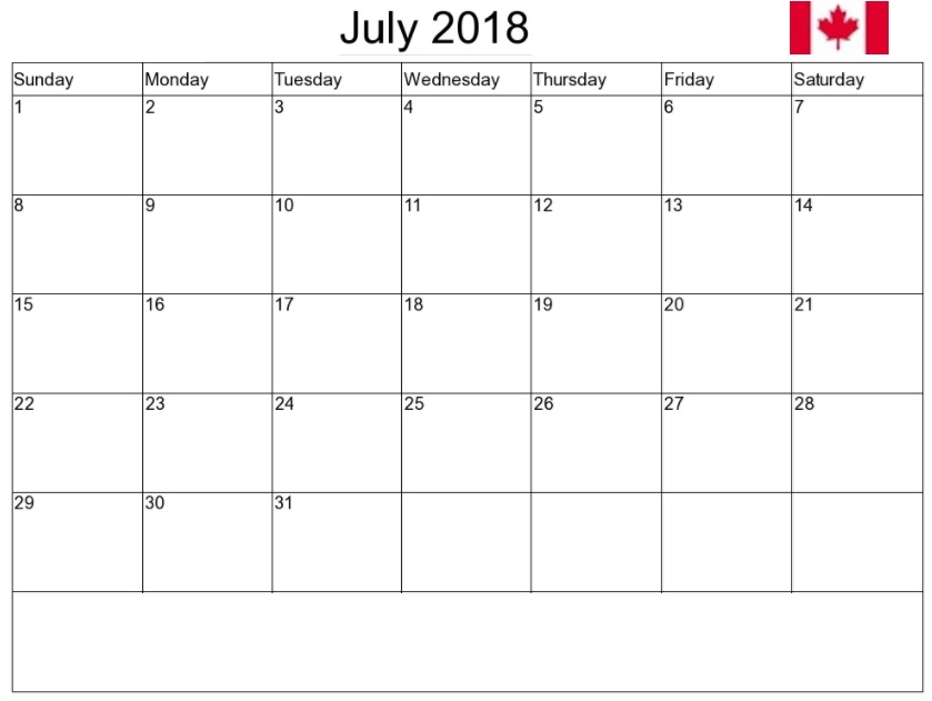 July 2018 Canada Calendar Holidays
