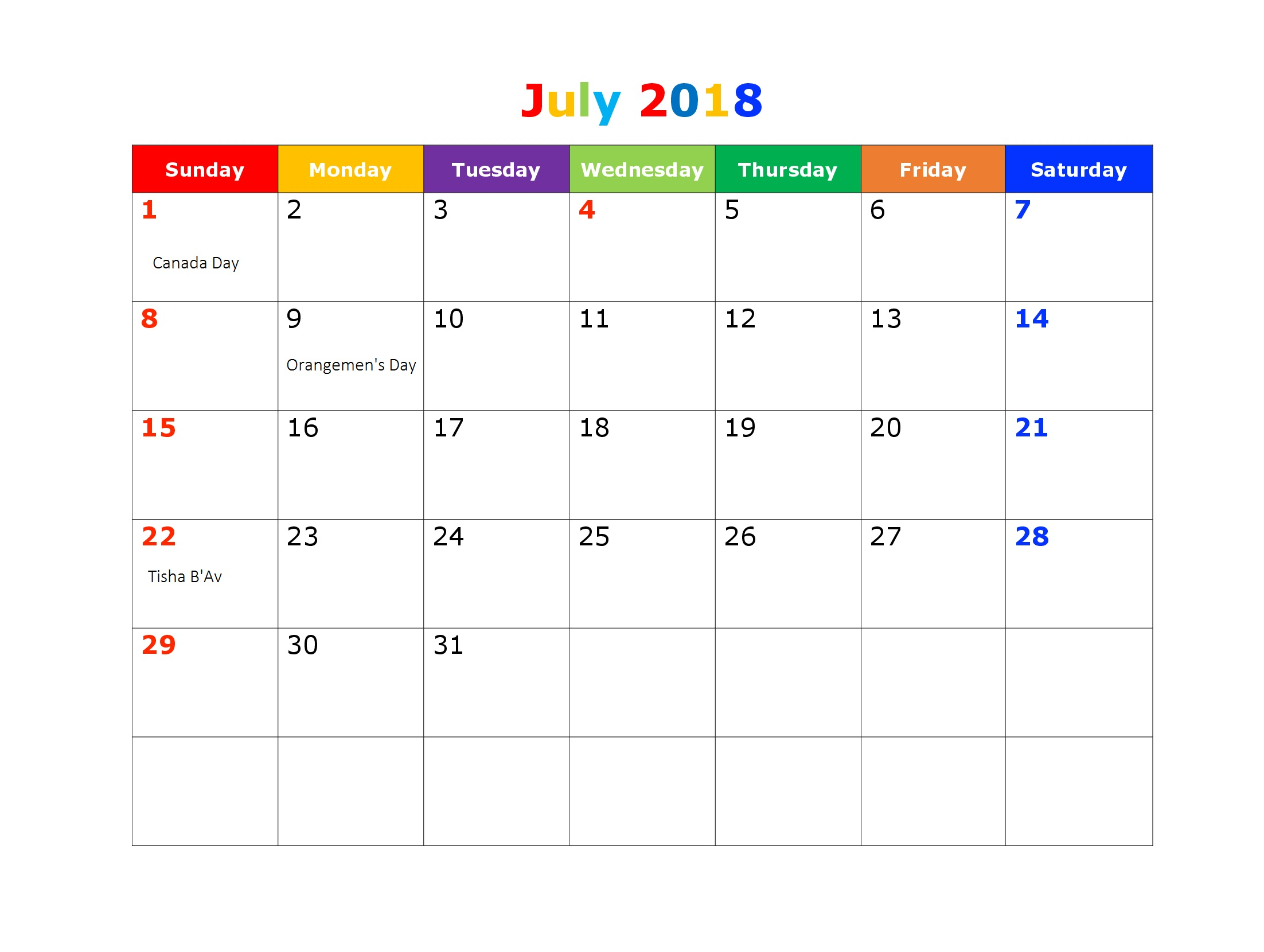 July 2018 Canada Holiday Calendar