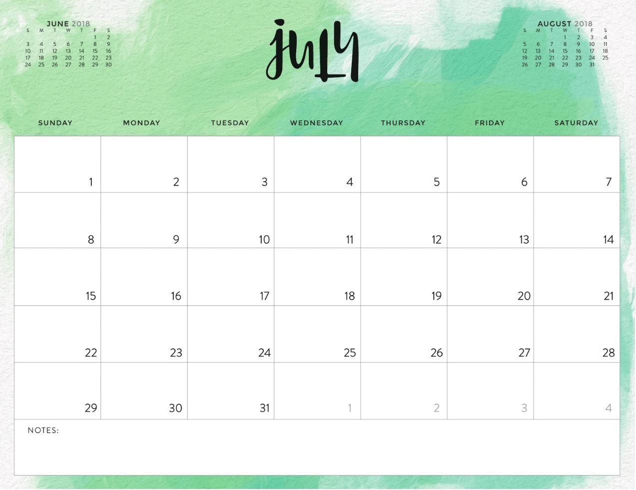 July 2018 Colorful Calendar For Office Desk