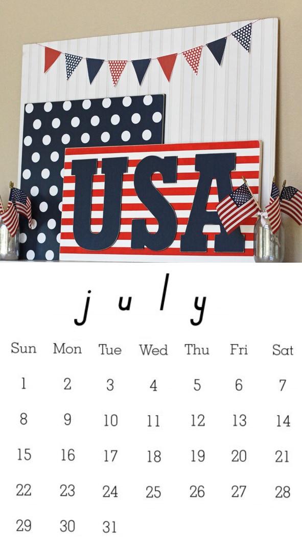 July 2018 Desk Calendar