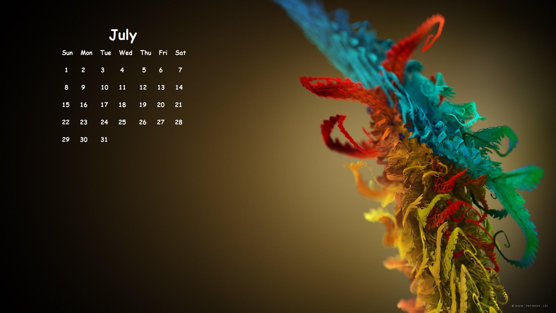 July 2018 Desktop Calendar HD
