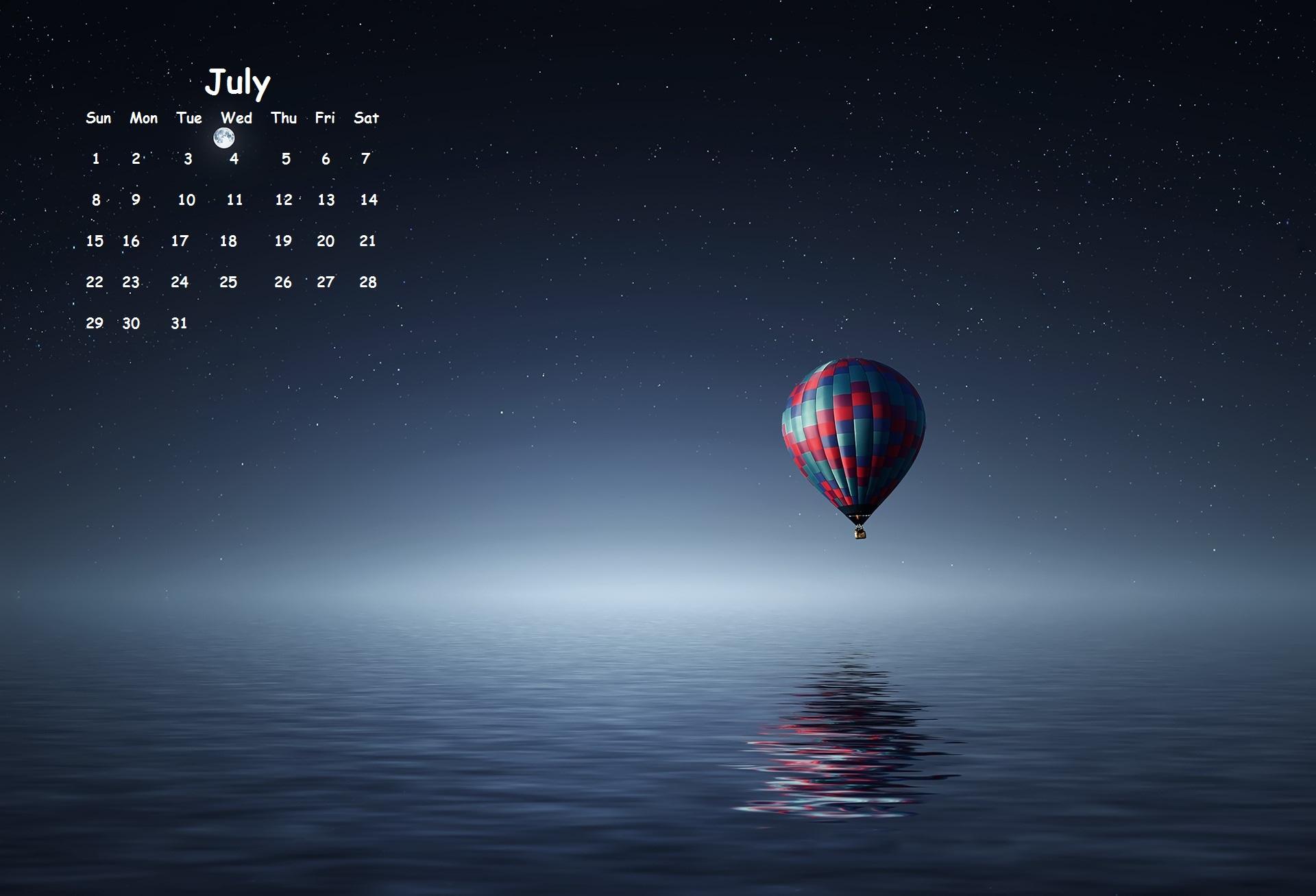 July 2018 Desktop Calendar Wallpaper