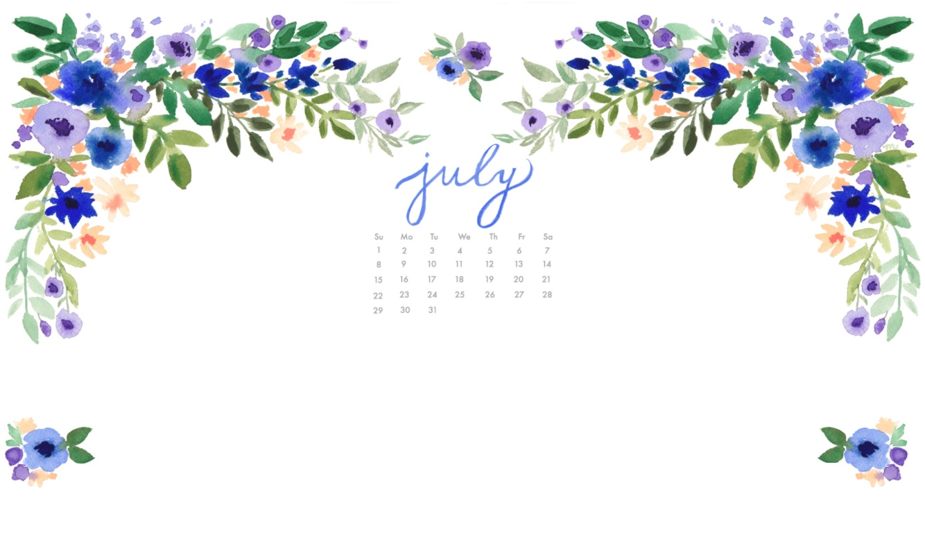 July 2018 Floral Calendar Wallpapers