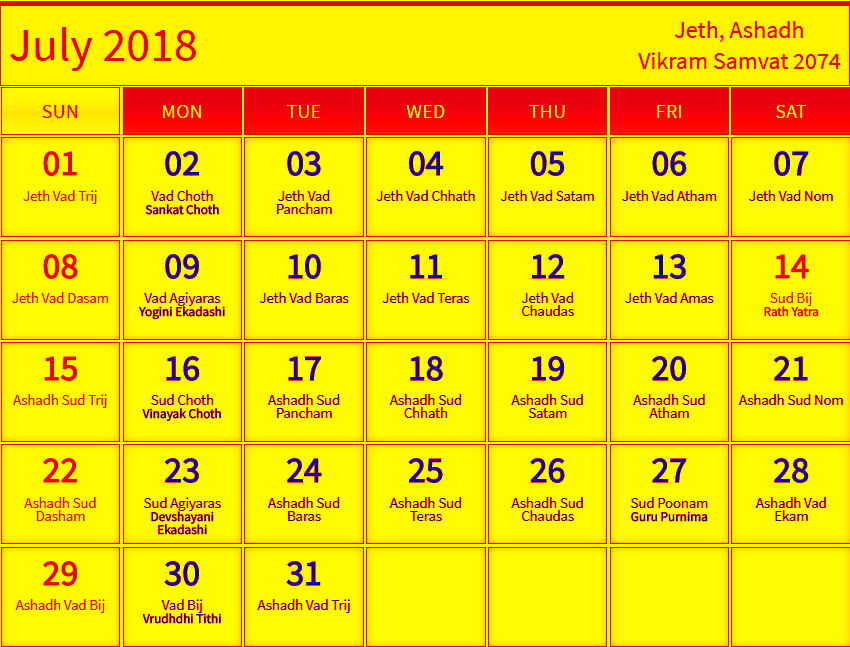 July 2018 Hindu Calendar with Tithi