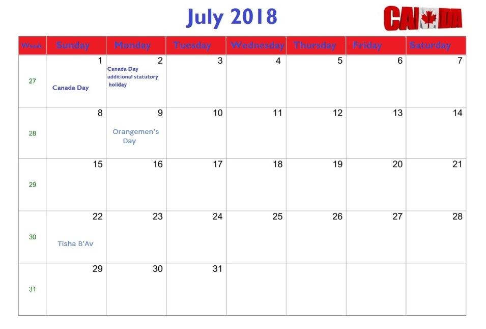 July 2018 Holiday Blank Calendar For Canada