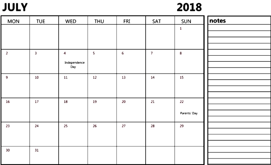 July 2018 Holiday Blank Calendar For USA