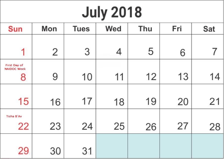 July 2018 Holiday Calendar Australia