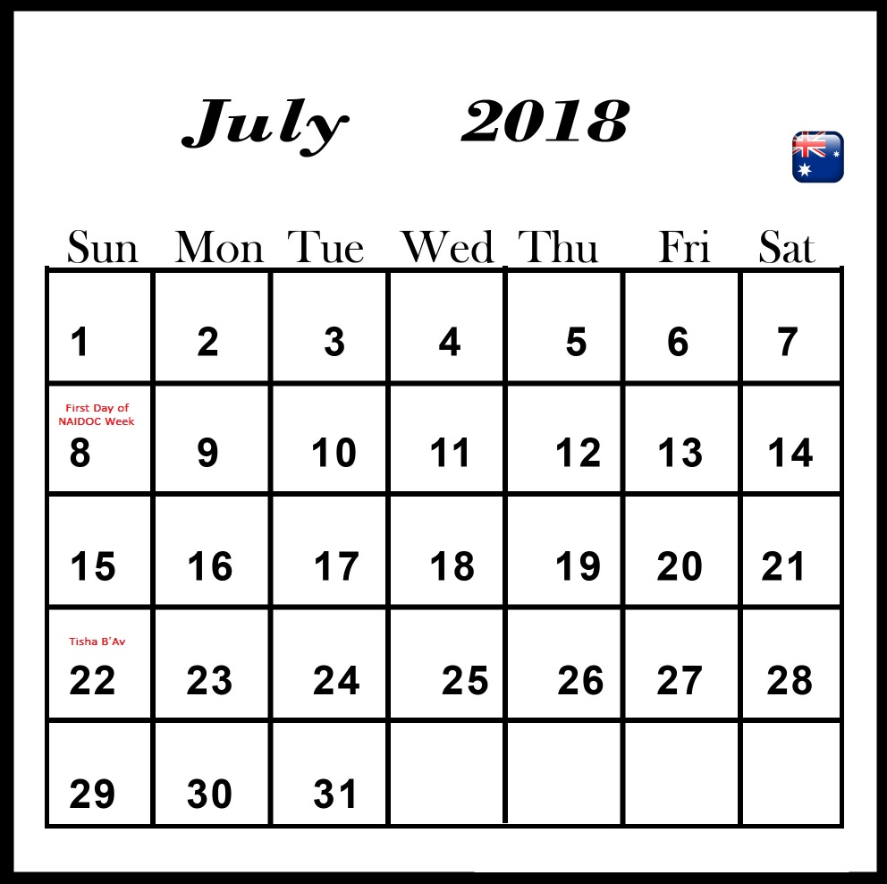 July 2018 Holiday Calendar For Australia