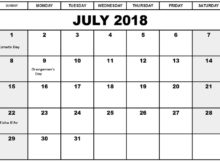 July 2018 Holiday Calendar For Canada