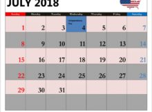 July 2018 Holiday Calendar USA