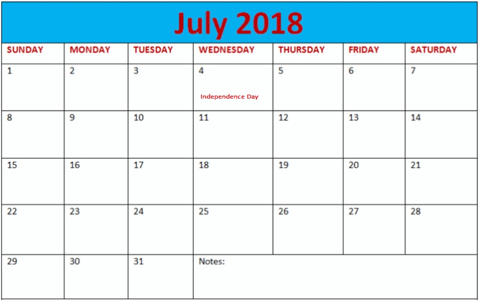 July 2018 Holiday Calendar USA To Print