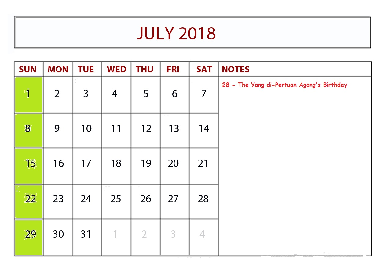 July 2018 Holiday Calendar With Notes