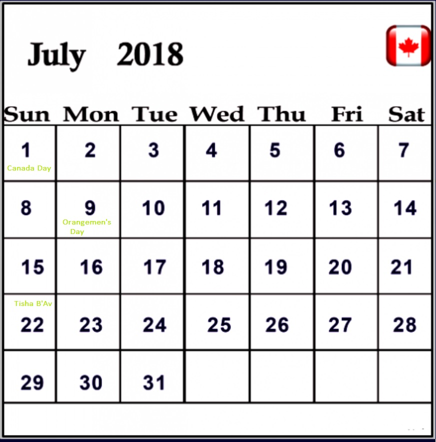 July 2018 Holiday Planner For Canada