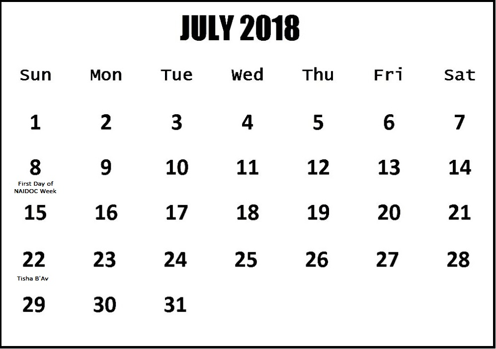 July 2018 Holiday Template For Australia