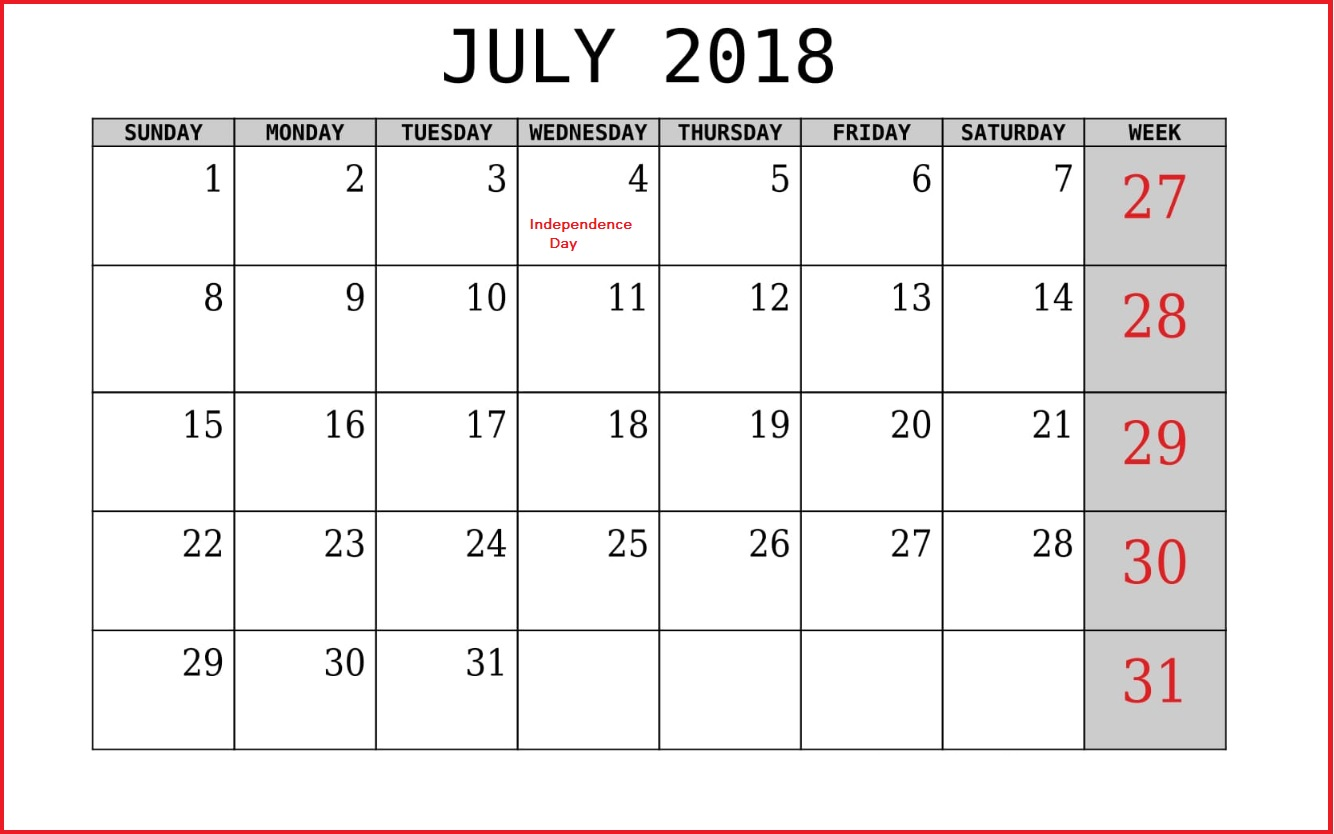 July 2018 Holiday Template For USA