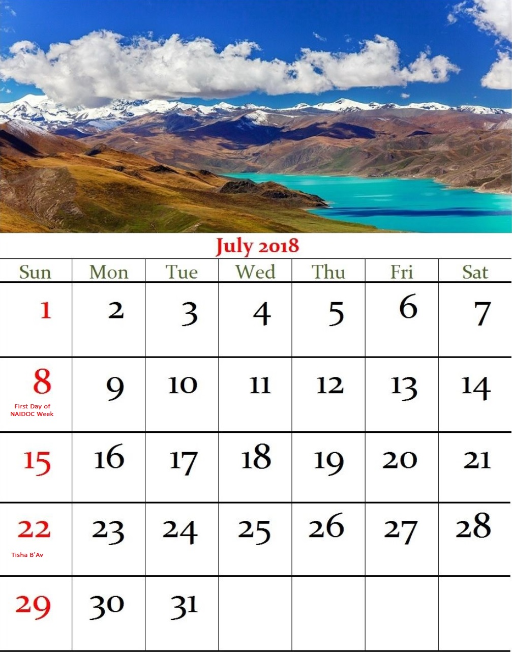 July 2018 Holiday Wall Calendar For Australia