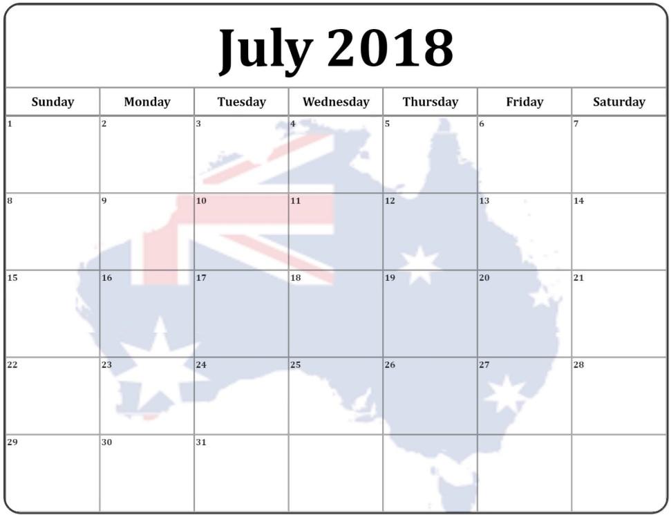 July 2018 Monthly Calendar For Australia
