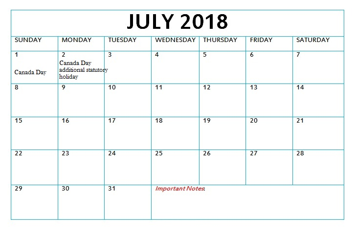 July 2018 Monthly Calendar With Holidays