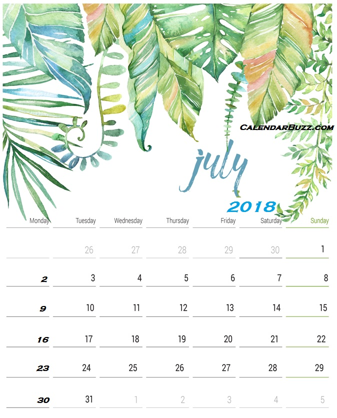 July 2018 Monthly Calendar With Notes