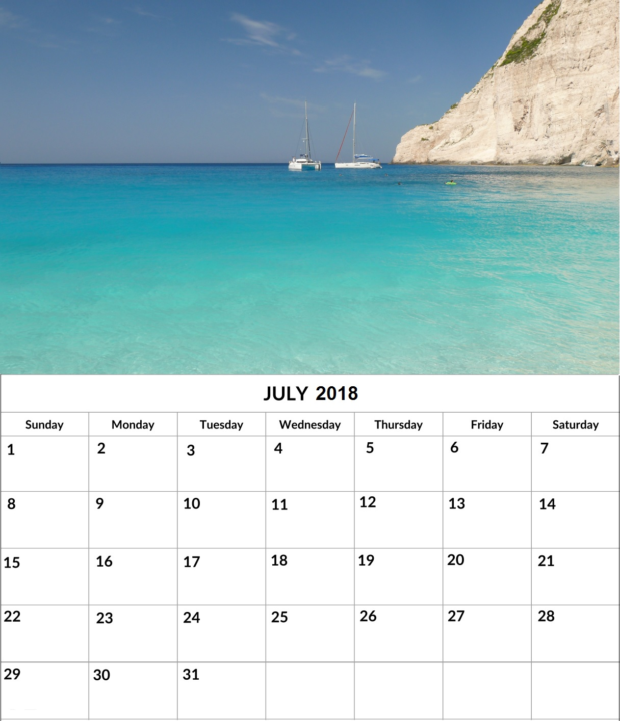 July 2018 Monthly Wall Calendar