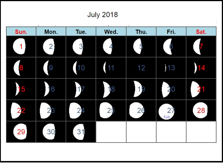 July 2018 Moon Phases Calendar Designs