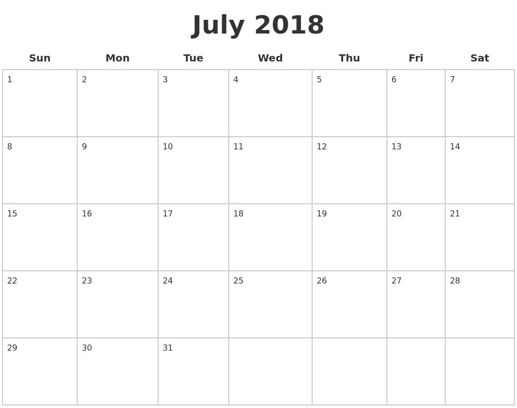 July 2018 Printable Blank Calendar In Pdf
