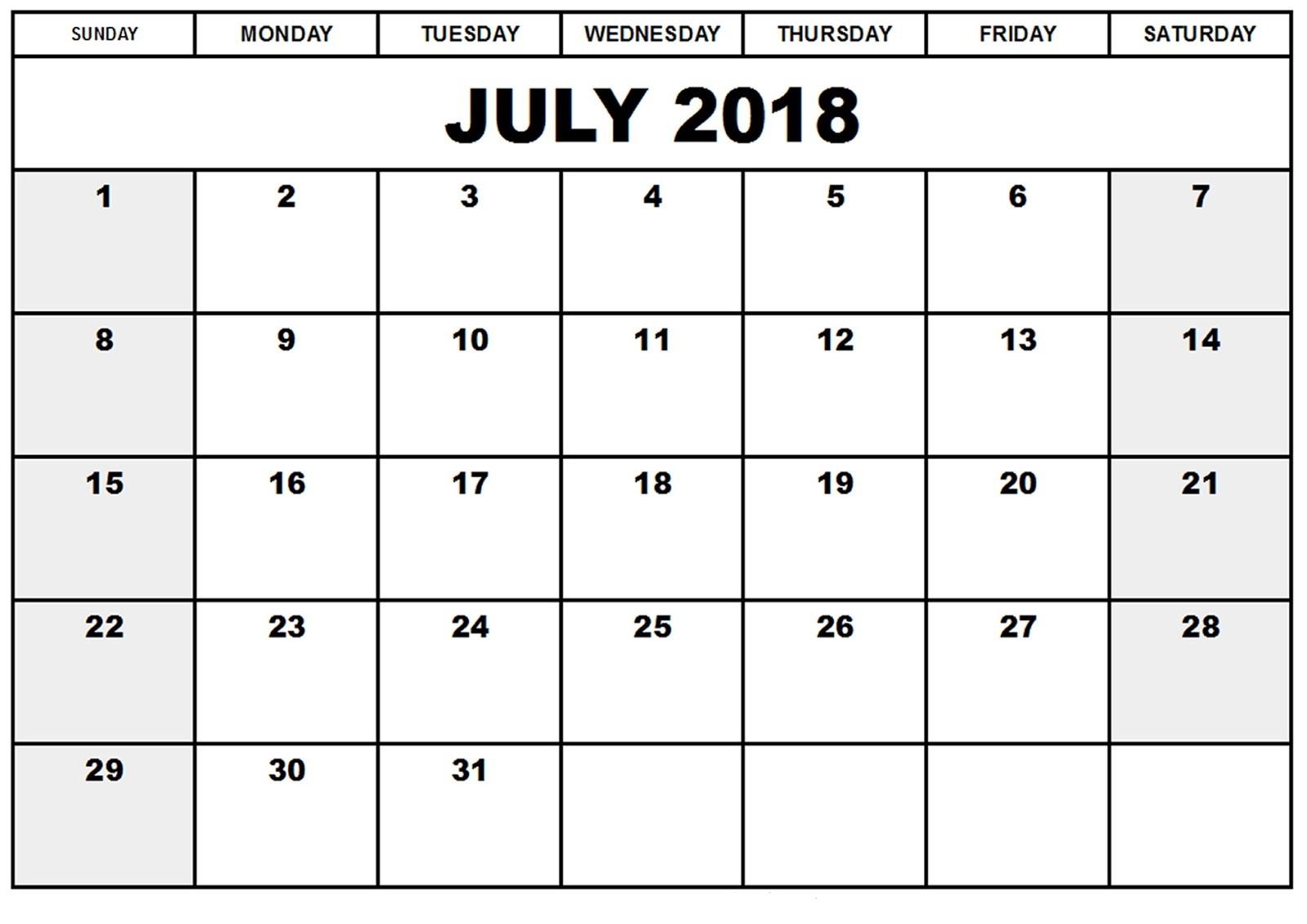 July 2018 Printable Blank Calendars Template