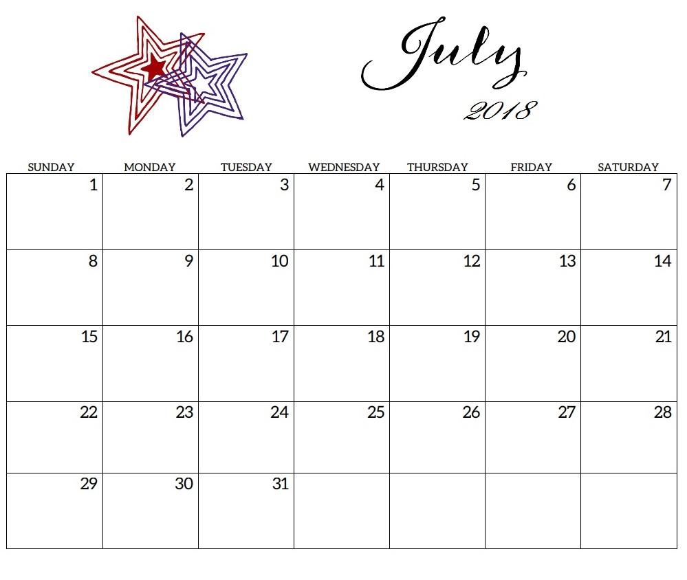 July 2018 Printable Calendar For Office Desk