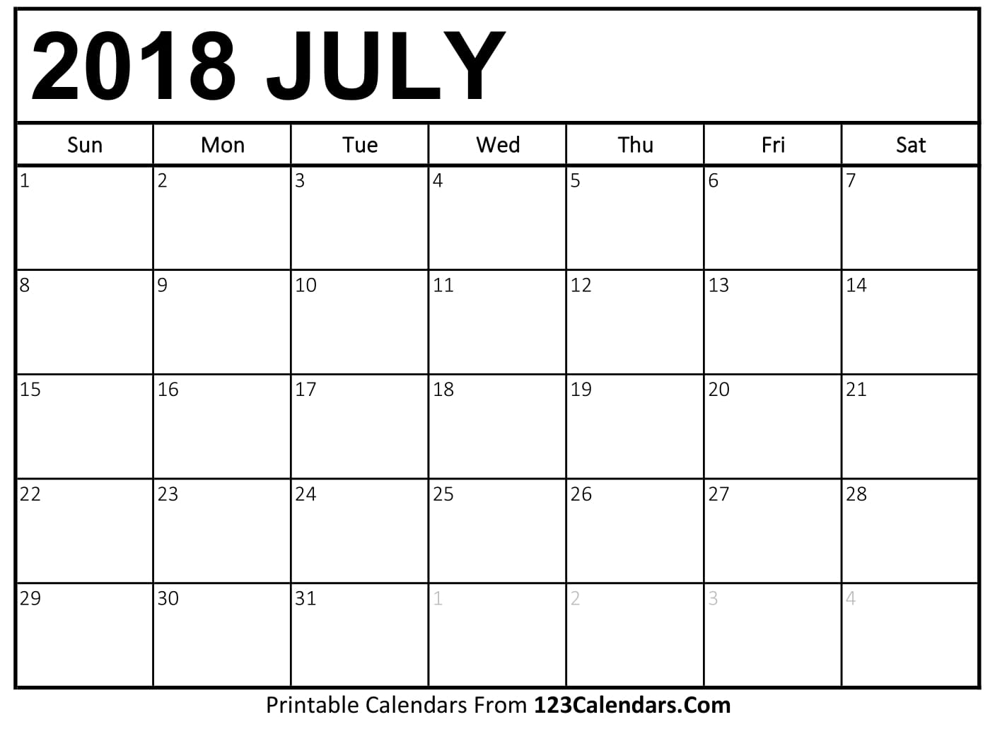 July 2018 Printable Calendar With Notes