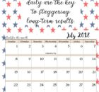 July 2018 Quotes Calendar Templates