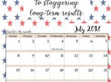 July 2018 Quotes Calendar Templates