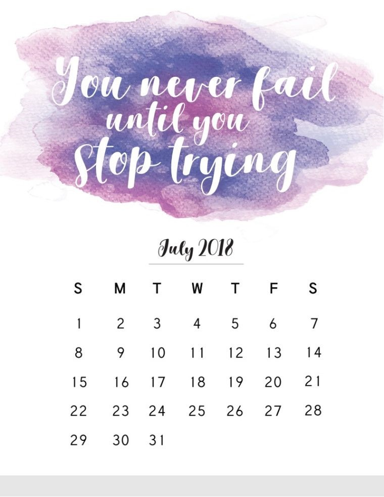 July 2018 Quotes Calendar