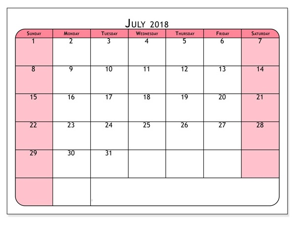 July 2018 Ready To Print Calendar