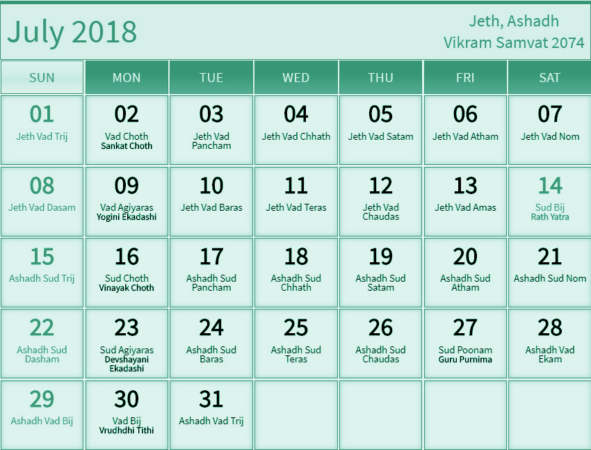 July 2018 Telugu Calendar Printable