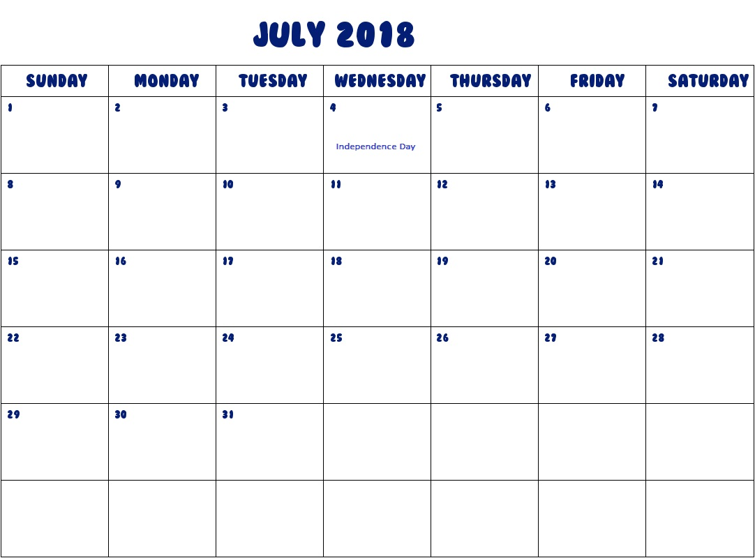 July 2018 USA Holiday Calendar