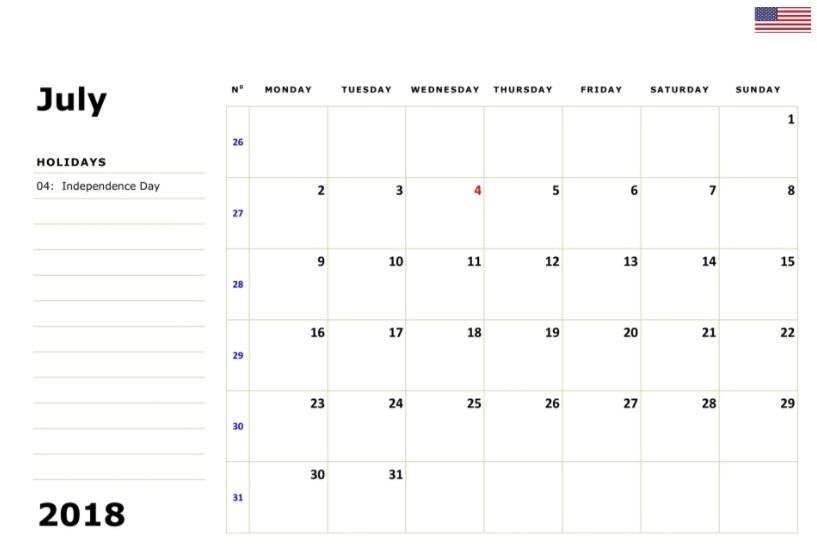 July 2018 Unites States Holidays Calendar