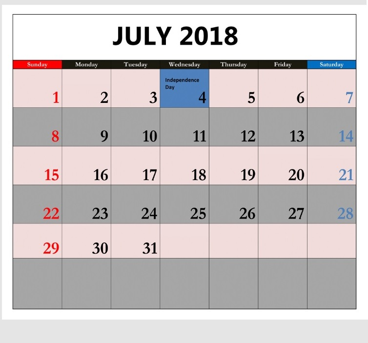 July 2018 Waterproof Calendar Planner
