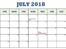 July 2018 Waterproof Calendar Templates