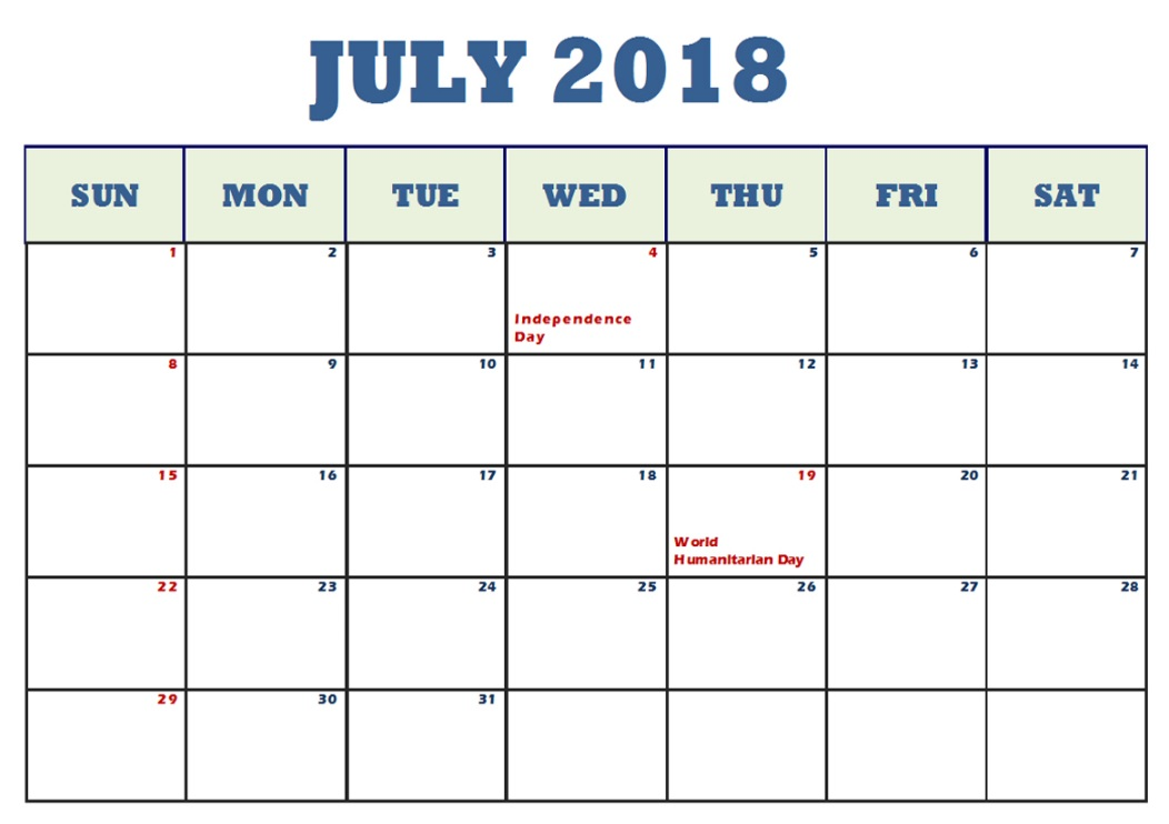 July 2018 Waterproof Calendar Templates