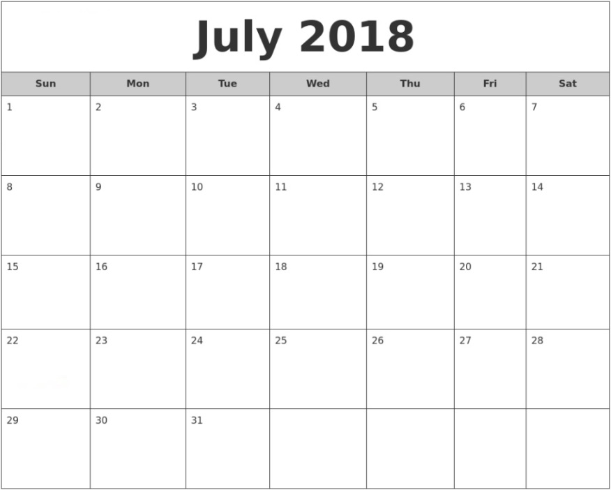 July 2018 Waterproof Calendar To Print