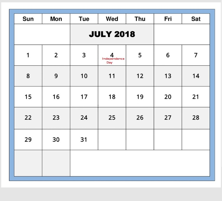July 2018 Waterproof Holiday Calendar