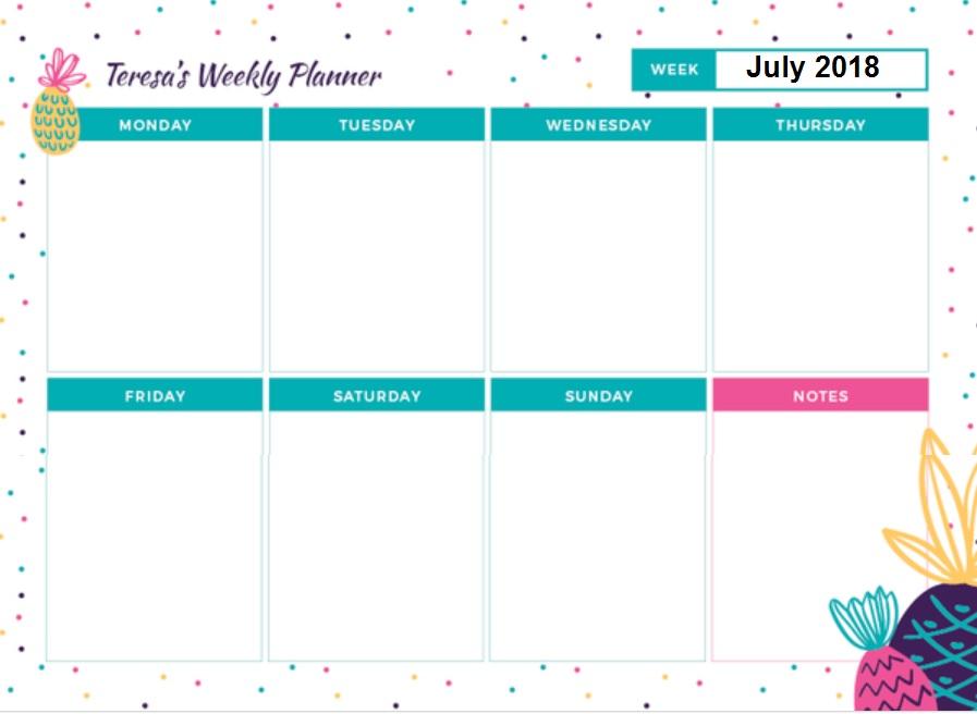 July 2018 Weekly Planner Calendar