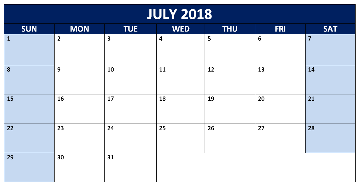 July 2018 Word Calendar Printable