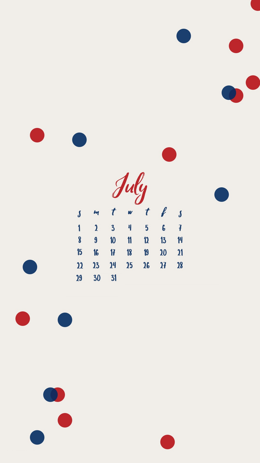 July 2018 iPhone Calendar Design