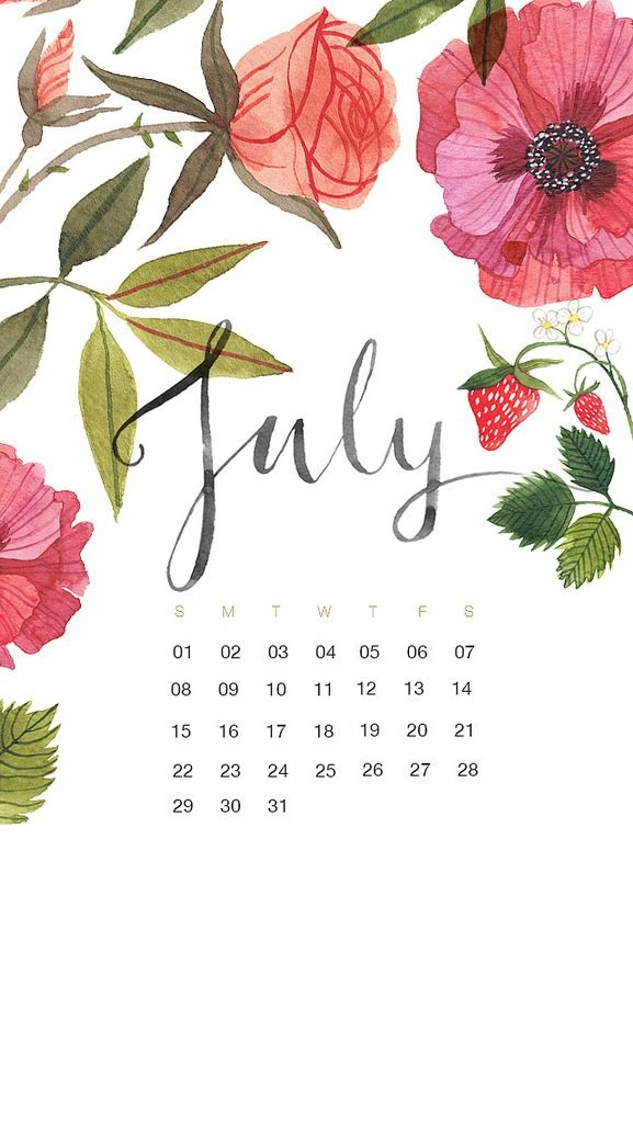 July 2018 iPhone Floral Calendar Wallpaper