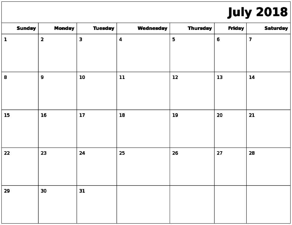 July Calendar 2018 Excel Format